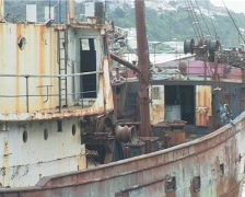 Rusty fishing boat Stock Footage