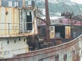 Rusty fishing boat Stock Footage