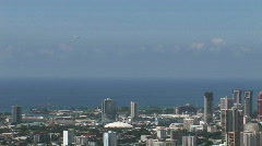 Honolulu jet take off over city M HD Stock Footage
