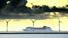 Cruise Ship Passing Wind Turbines Stock Footage