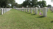 Veteran Cemetery row pan rt M HD Stock Footage