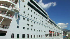 Cruiser ship at the dock 1 Stock Footage