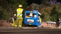 Bus Crash Into Apartment Stock Footage