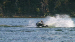 Jet Ski Jumps On Lake 02 Stock Footage