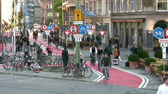 Germany Munich environmental friendly bike-lane - stock footage