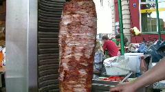 Turkish Gyro Dönar Kebap Kebab Rolling meat Stock Footage