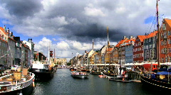 Nyhavn Colored Houses & Waterways Stock Footage