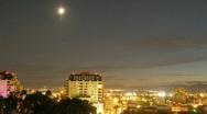 Moon Set In Denver Stock Footage