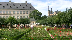 Germany Bamberg castle hill Rose garden Stock Footage