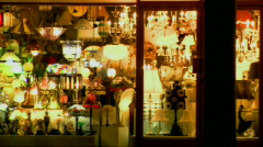 Lighting Shopfront Panned from across street Stock Footage