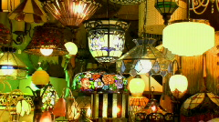 Light and Lighting Shop - Stained Glass Tiffany Lights & Lamps Stock Footage