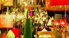Light and Lighting Shop - Brightly Coloured Lamps and Hanging Lights Stock Footage