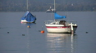 Stock Video Footage of Ammersee lake boat, Herrsching, Bavaria, Germany
