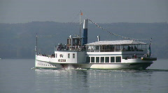 Ammersee lake steam boat, Herrsching, Bavaria, Germany Stock Footage