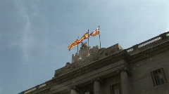 Spanish, Catalan and Barcelona flag banderas - stock footage
