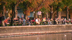 Beer garden, Lake Ammer, Herrsching, Bavaria, Germany Stock Footage