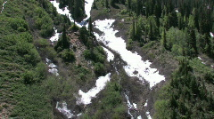 Utah mountain fly up snow pines M HD - stock footage