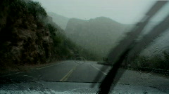Wet and muddy mountain pass - stock footage