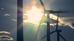 Wind Turbines & Sun 3 - stock footage