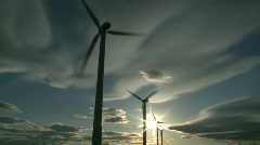Wind Turbines & Sun 4 Stock Footage