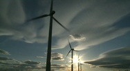 Stock Video Footage of Wind Turbines & Sun 4