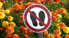 Sign of No Step in Hofgarten, Munich, Germany Stock Footage