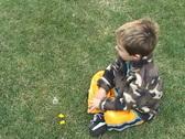 Little guy blowing Dandelion Stock Footage
