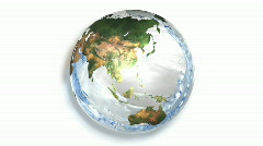 Earth Filling with water on white - stock footage