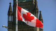 Canadian Flag And Parliament Building Peace Tower And Clock Stock Footage