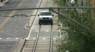 SUV Train Tracks Stock Footage
