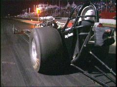 Motorsports, Drag racing, Old school style front engine rail launch Stock Footage