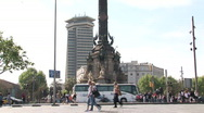 Stock Video Footage of Colombus Statue in Barcelona port