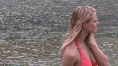 Woman in a bikin at the beach  Stock Footage