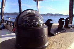 Compass on the Dash of Boat Marine Navigation Watercraft River Lake Sea Ocean Stock Footage