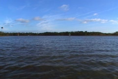 Boat POV Moving Across Water River Lake  Stock Footage