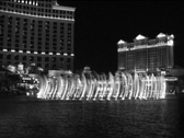Stock Video Footage of Bellagio Fountains, Las Vegas, B&W