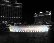 Bellagio Fountains, L.V., color + B&W Stock Footage