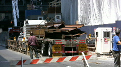 Unloading Metal Iron Beams At A Construction Site In New York  Stock Footage