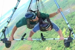 Tandam Hang Glider Aerial POV Flight Flying Pilot Stock Footage