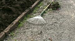 Seedling Metal barrow, push cart in botanic garden - stock footage