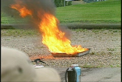 Fire and water bad, firefighting training Stock Footage
