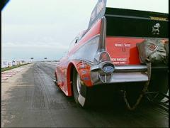 Motorsports, drag racing, pro-mod funny car launch '57 Chev Stock Footage