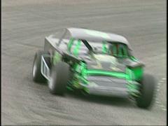 Motorsports, IMCA modified race stay on corner Stock Footage
