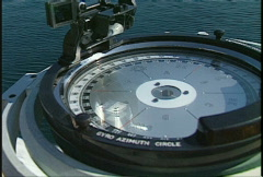 Military, navy, Frigate gyro compass Stock Footage
