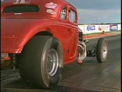 motorsports, drag race 1930 coupe launch - stock footage