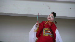 Chinese puppet performing on stage Stock Footage