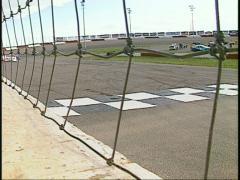Motorsports, late model stocks race fence shot Stock Footage