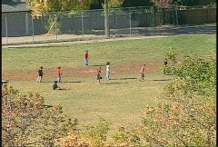 Sports and fitness, kids in playground, very long shot Stock Footage