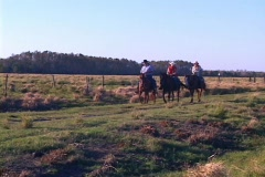 Three People Riding On Horseback on Ranch Horse Stock Footage
