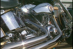 Chrome motorbike, close up Stock Footage
